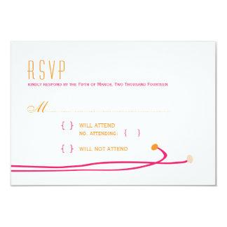 Simple Dahlia - Pink & Orange Wedding RSVP Card