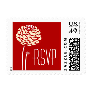 Simple Dahlia - Romantic Red Wedding RSVP Postage Stamps