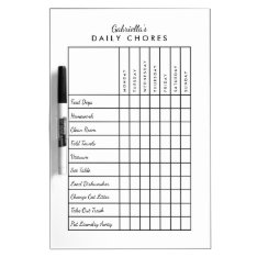 Simple Daily Chore Chart Dry-erase Board at Zazzle