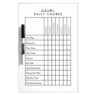 Simple Daily Chore Chart Dry-Erase Board