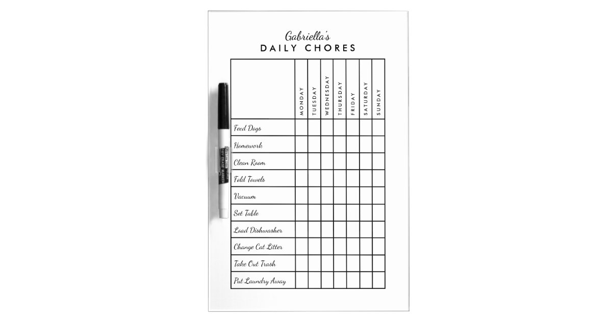 simple daily chore chart dry