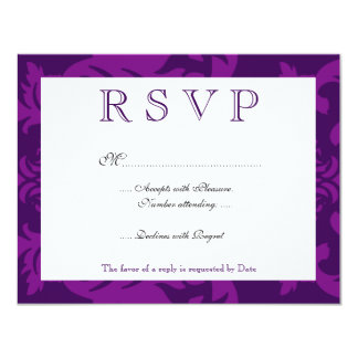 Simple Damask Aubergine RSVP Card