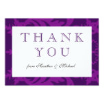 Simple Damask Aubergine Thank You Card