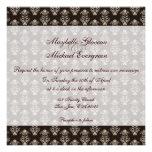 Simple Damask Brown Wedding Invitation