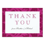 Simple Damask Burgundy Thank You Card