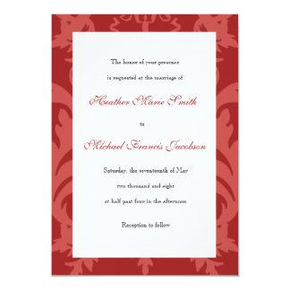 Simple Damask Cranberry Wedding Invitation