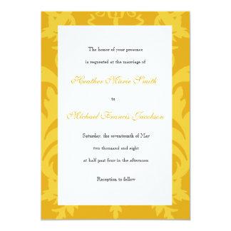 Simple Damask Gold Wedding Invitation
