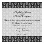 Simple Damask Gray Wedding Invitation