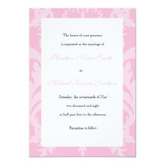 Simple Damask Pale Pink Wedding Invitation
