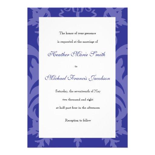 Simple Damask Royal Blue Wedding Invitation 5 X 7 Invitation Card