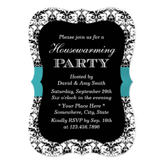 Simple Damask & Teal Ribbon Housewarming Party 5x7 Paper Invitation Card