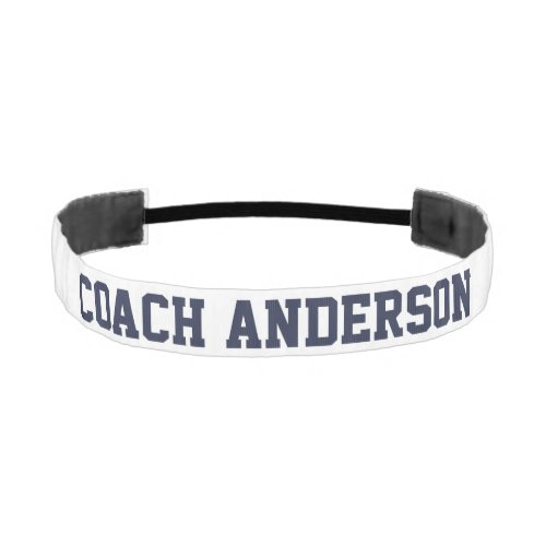Simple Dark Blue and White Coach Template Athletic Headband