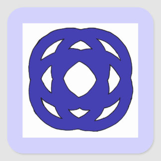 Simple Dark Blue Knot Square Sticker