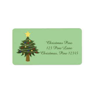 Simple Decorated Christmas Tree For The Holidays Label
