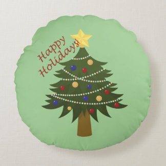 Simple Decorated Christmas Tree For The Holidays Round Pillow