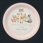 "Simple Deer Antler Woodland Animals Baby Girl Paper Plate<br><div class=""desc"">A simple, sweet, and adorable hand painted watercolor gathering of woodland animals. A mama and baby deer with boho floral crowns, a red fox and a raccoon are with them. There is a script typography text &quot;A Little Deer is on her way!&quot; Personalize the message with your own information easily...</div>"