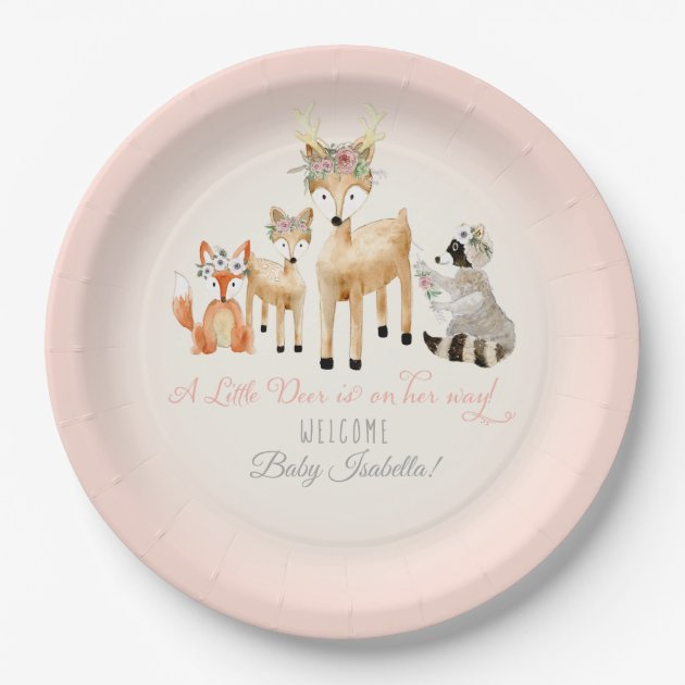 sc 1 st  Zazzle & Simple Deer Antler Woodland Animals Baby Girl Paper Plate | Zazzle.com
