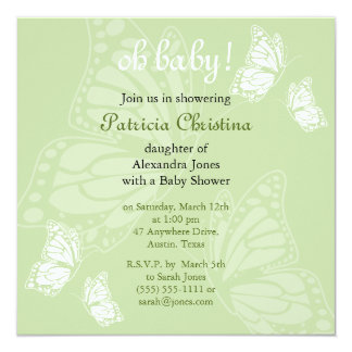 Simple Delicate Butterfly Green Baby Shower Party Card