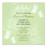 Simple Delicate Butterfly Green Baby Shower Party Invite
