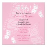 Simple Delicate Butterfly Pink Baby Shower Party Announcements