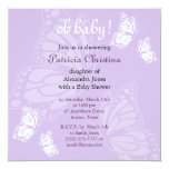 Simple Delicate Butterfly Purple Baby Shower Party Card