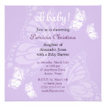Simple Delicate Butterfly Purple Baby Shower Party Custom Announcement