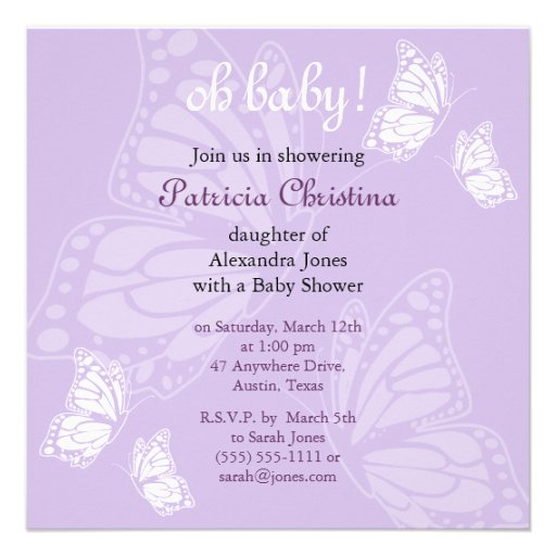 Purple Butterfly Baby Shower Invitations is an amazing ideas you had to choose for invitation design