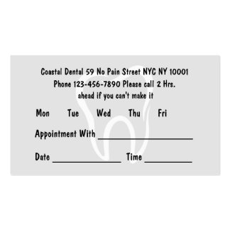 Simple Dentist Appointment Cards