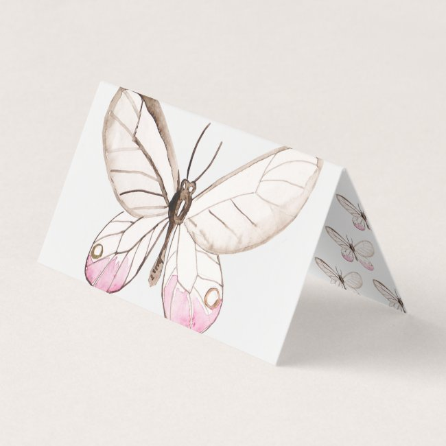 Simple Design Blush Butterfly Folded Place Card