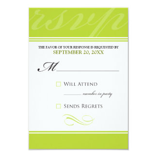 "Simple Designer RSVP Card (neon lime) 3.5"" X 5"" Invitation Card"