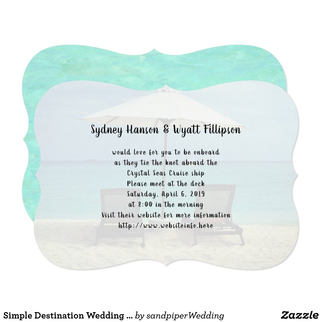 Simple Destination Wedding Beach Chairs Invitation