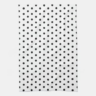 Simple Dots Black and White Polka Dot Design Hand Towel
