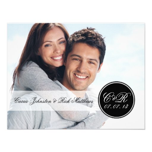 Simple Double Monogram Photo Wedding Reception Custom Invites