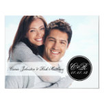 Simple Double Monogram Photo Wedding Reception 4.25x5.5 Paper Invitation Card