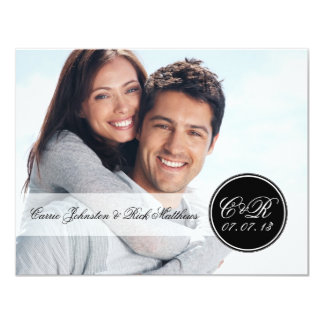 Simple Double Monogram Photo Wedding Reception 4.25x5.5 Paper Invitation Card
