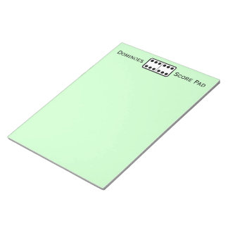 Simple Double Sixes Domino Game Score Pad Green Memo Notepad