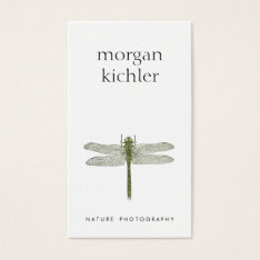 Simple Dragonfly Nature Professional Photographer Business Card at Zazzle