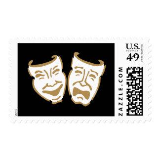 Simple Drama Masks Postage Stamp