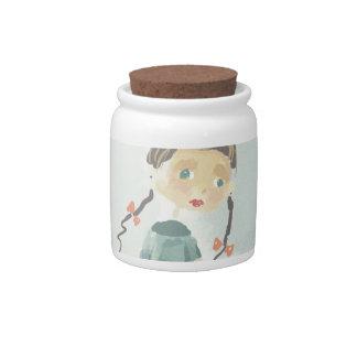 simple drawing of a cartoon girl Candy Jar