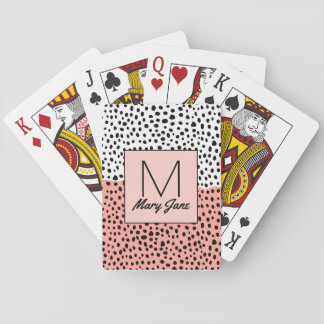 Simple Drawn Polka Dots on Peach White Monogram Playing Cards