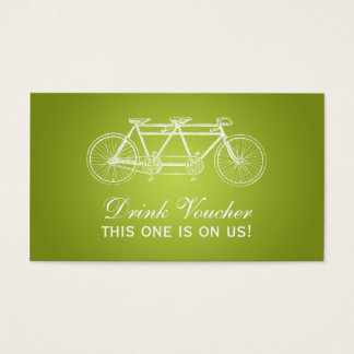 Simple Drink Voucher Tandem Bike Lime Green Business Card