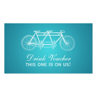 Simple Drink Voucher Tandem Bike Turquoise Business Card Template