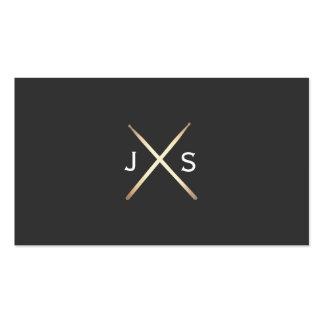 Simple Drummer Monogram Gold Drumsticks Business Card