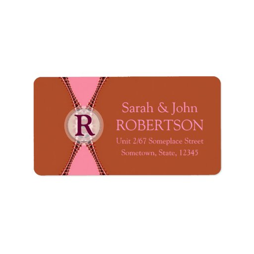 Simple Earth Pink Monogram Address Label