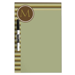Simple Earth Rain Stripes Monogram Dry-Erase Board