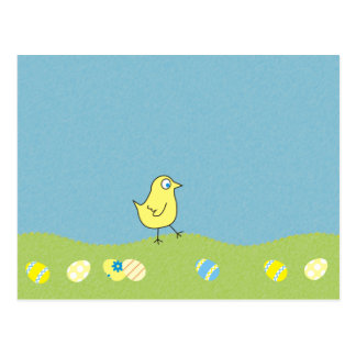 Simple Easter Postcard with Chicken on Meadow