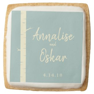 Simple Eggshell Blue Birch Wedding Cookies