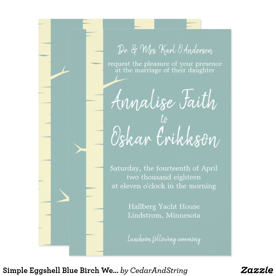 Simple Eggshell Blue Birch Wedding Invitation