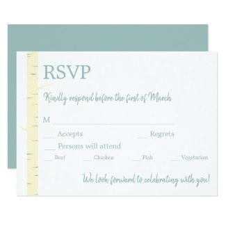 Simple Eggshell Blue Birch Wedding Invitation RSVP