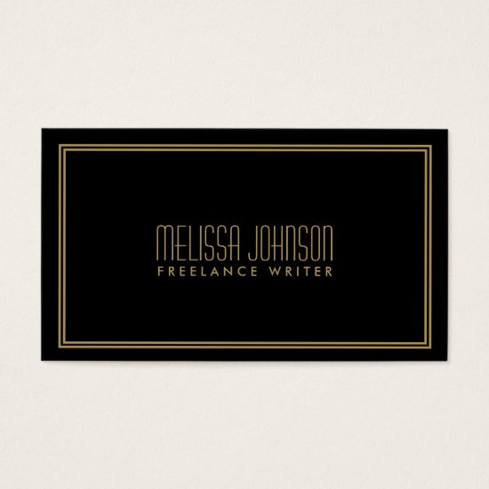 Simple Elegance Art Deco Style Black/Gold Business Card
